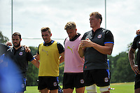 Club captain Stuart Hooper speaks to his players. Bath Rugby pre-season training session on July 18, 2014 at Farleigh House in Bath, England. Photo by: Patrick Khachfe/Onside Images
