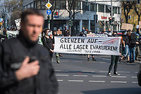 Etwas mehr als 100 Menschen protestierten am Samstag den 28. Maerz 2020 in Berlin-Kreuzberg gegen die Auswirkungen der Corona-Krise. Sie forderten auf Plakaten und Transparenten die Oeffnung der Gefluechtetenlager in Griechenland, das Obdachlose in Hotels untergebracht werden koennen, mehr Krankenschwestern statt Polizei, keine Bundeswehreinsaetze im Inneren und andere Themen.<br /> Nach ca. 15 Minuten traf die Polizei ein und die Demonstranten beendeten ihre Aktion.<br /> 28.3.2020, Berlin<br /> Copyright: Christian-Ditsch.de<br /> [NUR FUER REDAKTIONELLE ZWECKE! Werbung nur auf Anfrage beim Fotografen. Inhaltsveraendernde Manipulation des Fotos nur nach ausdruecklicher Genehmigung des Fotografen. Vereinbarungen ueber Abtretung von Persoenlichkeitsrechten/Model Release der abgebildeten Person/Personen liegen nicht vor. NO MODEL RELEASE! Don't publish without copyright Christian-Ditsch.de, Veroeffentlichung nur mit Fotografennennung, sowie gegen Honorar, MwSt. und Beleg. Konto: I N G - D i B a, IBAN DE58500105175400192269, BIC INGDDEFFXXX, Kontakt: post@christian-ditsch.de<br /> Bei der Bearbeitung der Dateiinformationen darf die Urheberkennzeichnung in den EXIF- und  IPTC-Daten nicht entfernt werden, diese sind in digitalen Medien nach §95c UrhG rechtlich geschuetzt. Der Urhebervermerk wird gemaess §13 UrhG verlangt.]
