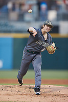 Charlotte 49ers starting pitcher Chase Gooding (40) delivers a pitch to the plate against the Wake Forest Demon Deacons at BB&T BallPark on March 13, 2018 in Charlotte, North Carolina.  The 49ers defeated the Demon Deacons 13-1.  (Brian Westerholt/Four Seam Images)