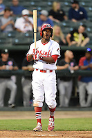 Peoria Chiefs outfielder Kenneth Peoples-Walls (13) at bat during a game against the Kane County Cougars on June 2, 2014 at Dozer Park in Peoria, Illinois.  Peoria defeated Kane County 5-3.  (Mike Janes/Four Seam Images)