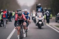 Tiesj Benoot (BEL/Lotto-Soudal) leading the prusuit of the 2 leaders<br /> <br /> 61th E3 Harelbeke (1.UWT)<br /> Harelbeke - Harelbeke (206km)