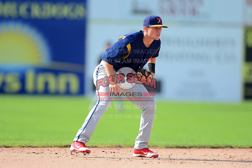 State College Spikes shortstop Michael Schultze #31 during a game against the Batavia Muckdogs on June 29, 2013 at Dwyer Stadium in Batavia, New York.  Batavia defeated State College 3-1.  (Mike Janes/Four Seam Images)