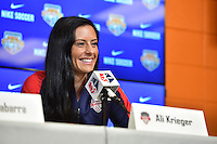 Houston, TX - Saturday Oct. 08, 2016: Ali Krieger during a press conference prior to the National Women's Soccer League (NWSL) Championship match between the Washington Spirit and the Western New York Flash at Houston Sports Park.