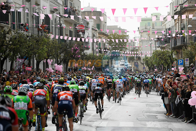 The peloton in action during Stage 7 of the 100th edition of the Giro d'Italia 2017, running 224km from Castrovillari to Alberobello, Italy. 12th May 2017.<br /> Picture: LaPresse/Fabio Ferrari | Cyclefile<br /> <br /> <br /> All photos usage must carry mandatory copyright credit (&copy; Cyclefile | LaPresse/Fabio Ferrari)