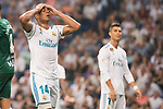 Real Madrid's Carlos Henrique Casemiro and Cristiano Ronaldo during La Liga match between Real Madrid and Real Betis at Santiago Bernabeu Stadium in Madrid, Spain September 20, 2017. (ALTERPHOTOS/Borja B.Hojas)