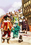 Cavalier in 17th century London. A snowy London street in the time of Charles the First, with Puritans looking disapprovingly at a Royalist dressed in splendid finery.
