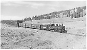 RGS K-27 #461 with stock cars exiting Lizard Head snowshed.<br /> RGS  Lizard Head, CO  Taken by Richardson, Robert W. - 9/25/1951