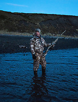 Outfoorlife Editor John Snow during a waterfowl hunt in Cold Bay, Alaska, Monday, October 31, 2016. The Izembek National Wildlife Refuge lies on the northwest coastal side of central Aleutians East Borough along the Bering Sea and Cold Bay. Birds hunted include the long tailed duck, the Steller's Eider, the Harlequin, the King Eider and Brant.<br /> <br /> Photo by Matt Nager