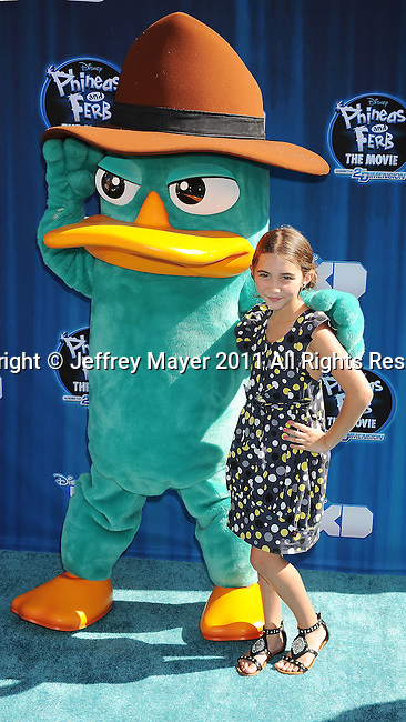 """HOLLYWOOD, CA - AUGUST 03: Rowan Blanchard arrives at the premiere of """"Phineas and Ferb: Across The 2nd Dimension"""" at the El Capitan Theatre on August 3, 2011 in Hollywood, California."""