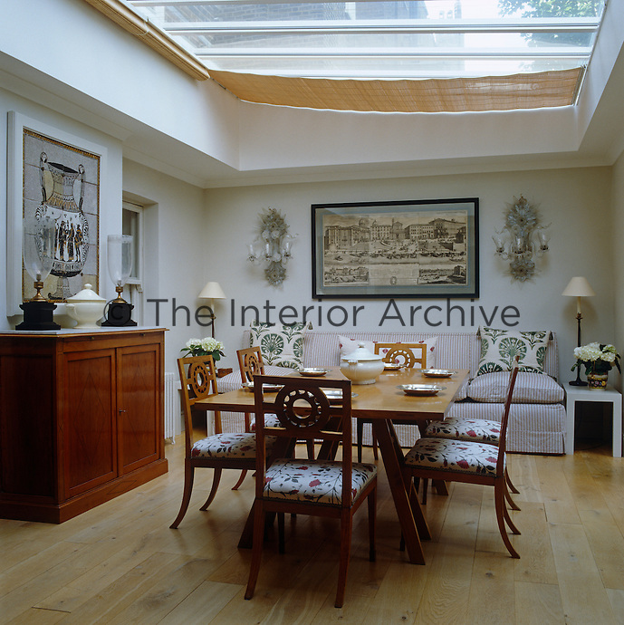 The Glass Roof Of Dining Room Extension Is Shielded By Individual Linen Blinds