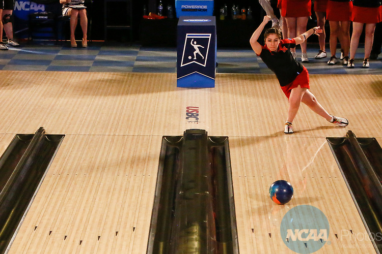 BATON ROUGE, LA - APRIL 15: Julia Bond #28 bowls during the Division I Women's Bowling Championship held at the Baton Rouge River Center on April 15, 2017 in Baton Rouge, Louisiana. (Photo by Tim Nwachukwu/NCAA Photos via Getty Images)