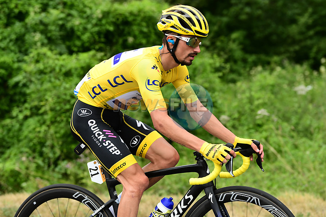 Yellow Jersey Julian Alaphilippe (FRA) Deceuninck-Quick Step in action during Stage 15 of the 2019 Tour de France running 185km from Limoux to Foix Prat d'Albis, France. 20th July 2019.<br /> Picture: ASO/Alex Broadway | Cyclefile<br /> All photos usage must carry mandatory copyright credit (© Cyclefile | ASO/Alex Broadway)