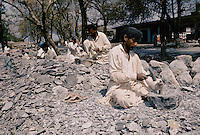 Stone mortar manufactured in the suburb of Peshawar, Pakistan