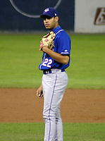 September 3, 2003:  Pitcher Joaquin Canizal of the Auburn Doubledays, Class-A affiliate of the Toronto Blue Jays, during a game at Dwyer Stadium in Batavia, NY.  Photo by:  Mike Janes/Four Seam Images
