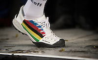 rainbow podium shoes for Peter Sagan (SVK/Tinkoff)<br /> <br /> 100th Ronde van Vlaanderen 2016