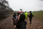 the last protestors are  removed from the trees  at the decoy pond Combe Haven . Bexhill - Hastings Bypass..There's a huge security prescence - amidst a muddy swamp..Around 100  police and  turned up and security .  15 people remain in the trees. East Sussex countly council pushing for the road to  be built   refused to allow food and  medicine into the trees.  The  tree protesters sat out  3 nights of gales and  rain