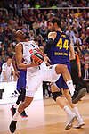 Turkish Airlines Euroleague 2018/2019. <br /> Regular Season-Round 24.<br /> FC Barcelona Lassa vs R. Madrid: 77-70. <br /> Anthony Randolph vs Ante Tomic.