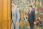 King Felipe VI of Spain during an audience with CEO of Hogan Lovells Stephen J. Immelt (l) and partner director of the office of Hogan Lovells in Madrid Lucas Osorio (r). July 12,2019. (ALTERPHOTOS/Francis Gonzalez)