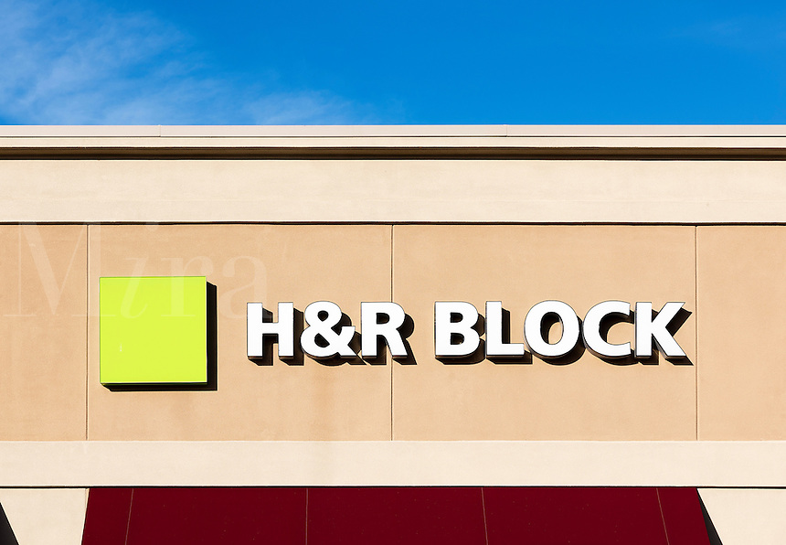 H&R Block tax preparation office exterior.