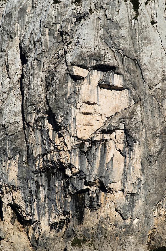 &quot;face&quot; in the wall of mount Prisojnik, rock formation &quot;Ajdovska deklica&quot;<br /> seen from Vrsic mountain road<br /> Triglav National Park, Slovenia<br /> June 2009