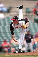 Rochester Red Wings pitcher Kyle Gibson #44 delivers a pitch during a game against the Louisville Bats at Frontier Field on May 12, 2011 in Rochester, New York.  Louisville defeated Rochester 5-2.  Photo By Mike Janes/Four Seam Images