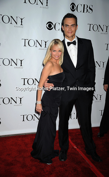 Kristin Chenoweth and Cheyenne Jackson.posing for photographers at the 62nd Annual Tony Awards.on June 15, 2008 at Radio City Music Hall. ..Robin Platzer, Twin Images
