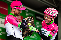 Picture by Alex Whitehead/SWpix.com - 07/09/2018 - Cycling - OVO Energy Tour of Britain - Stage 6: Barrow-in-Furness to Whinlatter - Taylor Phinney and Hugh Carthy of EF Education First-Drapac p/b Cannondale with an owl.