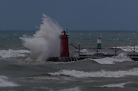Autumn storm on South Haven Lighthouse sequence image 1