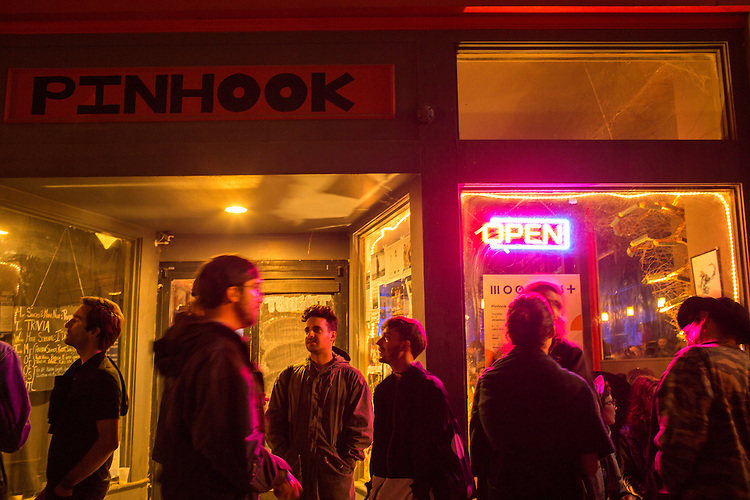 Durham, North Carolina - Thursday May 19, 2016 - The crowd outside the Pinhook gathers during the Kyle Hall DJ set Thursday night during Moogfest in Durham.