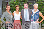 FACE OF IRELAND: Aideen Feely who representing Kerry in the Face of Ireland modelling competition with Brian Cunningham CEO of Face of Ireland the Charity Fashion Show in aid of the Suicidal and Mental Health in Kerry at the Carlton hotel, Tralee on Thursday l-r: Lyndsey Kelly, Aideen Feely, Brian Cunningham and Andrea Collins.