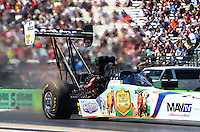 Sept. 21, 2013; Ennis, TX, USA: NHRA top fuel dragster driver Brandon Bernstein during the Fall Nationals at the Texas Motorplex. Mandatory Credit: Mark J. Rebilas-