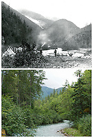 KLGO Photo Station CH-02: Canyon City. View to the north of the Taiya River near Canyon City, Klondike Gold Rush National Historical Park, Alaska, United States. The on upper photo was taken August 30, 1897 by Frank La Roche (University of Washington Libraries, Special Collections, UW28136). The lower photo was taken August 18, 2013 by Ronald D. Karpilo Jr. (Karpilo #20130818_00669).
