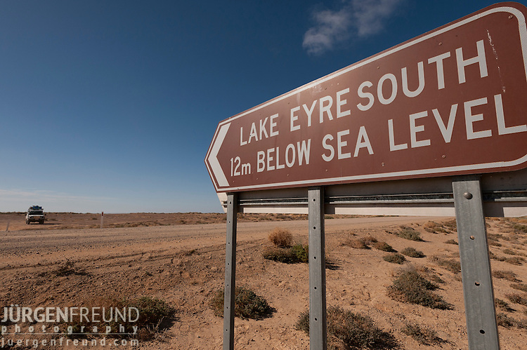 Road sign showing the depth of Lake Eyre South - 12m below sea level.