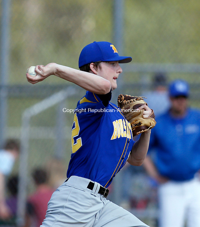 Burlington, CT- 08 May 2015-050815CM04-  Housatonic's Connor Toffey delivers a pitch during their Berkshire League matchup against Lewis Mills in Burlington on Friday.  Christopher Massa Republican-American