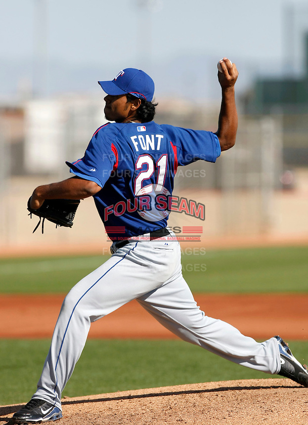 Wilmer Font  - Texas Rangers - 2009 spring training.Photo by:  Bill Mitchell/Four Seam Images