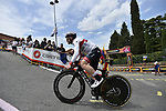 UAE Team Emirates riders head out for a practice run before Stage 1 of the 2019 Giro d'Italia, an individual time trial running 8km from Bologna to the Sanctuary of San Luca, Bologna, Italy. 11th May 2019.<br /> Picture: Fabio Ferrari/LaPresse | Cyclefile<br /> <br /> All photos usage must carry mandatory copyright credit (© Cyclefile | Fabio Ferrari/LaPresse)