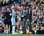 Fernandinho of Manchester City is talked to by Josep Guardiola manager of Manchester City during the English Premier League match at the Etihad Stadium, Manchester. Picture date: May 13th 2017. Pic credit should read: Simon Bellis/Sportimage