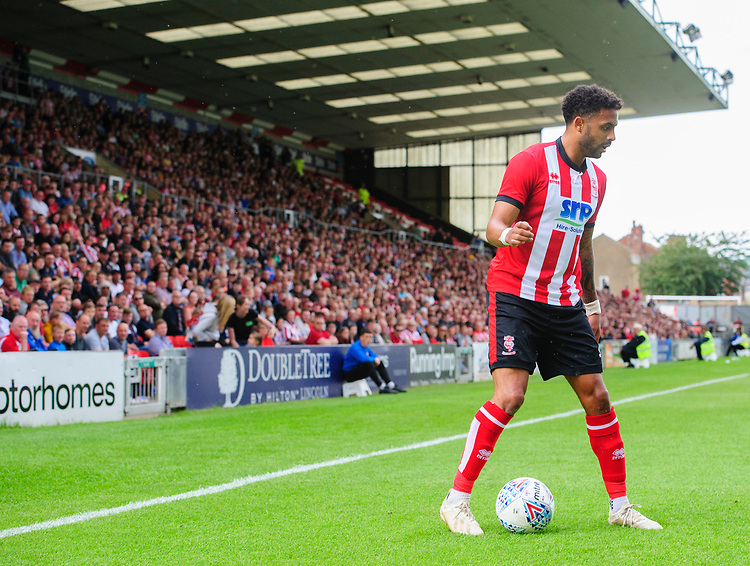Lincoln City's Bruno Andrade<br /> <br /> Photographer Chris Vaughan/CameraSport<br /> <br /> Football Pre-Season Friendly - Lincoln City v Sheffield Wednesday - Saturday July 13th 2019 - Sincil Bank - Lincoln<br /> <br /> World Copyright © 2019 CameraSport. All rights reserved. 43 Linden Ave. Countesthorpe. Leicester. England. LE8 5PG - Tel: +44 (0) 116 277 4147 - admin@camerasport.com - www.camerasport.com