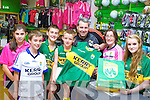 Kerry GAA shop staff in Killarney Outlet Centre has been busy as an unprecedented demand for Kerry merchandise ahead of the Dublin game in the All Ireland semi final in Croke Park next Sunday l-r: Amy O'Callaghan, Mark Cooper, Darragh O'Callaghan, TJ O'Sullivan, Niall O'Callaghan, Noreen Cooper and Laura O'Sullivan
