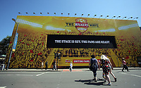 Pictured: A Walkers Wave giant screen in Westgate Street. Thursday 25 May 2017<br />Re: Preparations for the UEFA Champions League final, between Real Madrid and Juventus in Cardiff, Wales, UK.