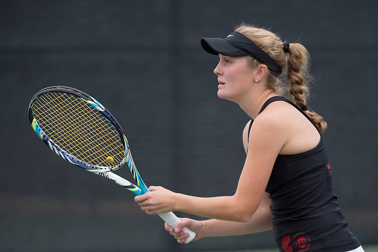 April 22, 2015; San Diego, CA, USA; Santa Clara Broncos tennis player Riley Morgan during the WCC Tennis Championships at Barnes Tennis Center.