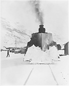 D&amp;RGW engine with large wedge snowplow in Silverton, a head-on view.  This is likely #463.<br /> D&amp;RGW  Silverton, CO