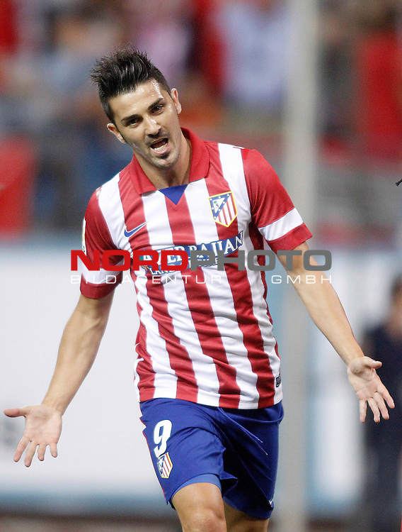 Atletico de Madrid's David Villa celebrates goal during Supercup of Spain 1st match.August 21,2013. Foto © nph / Acero)