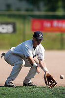24 May 2009: Yann Dal Zotto of Savigny eyes the ball during the 2009 challenge de France, a tournament with the best French baseball teams - all eight elite league clubs - to determine a spot in the European Cup next year, at Montpellier, France. Rouen wins 7-5 over Savigny.