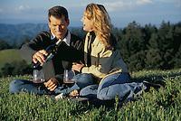 Couple having picnic, Mt. Tamalpais, N. California<br />