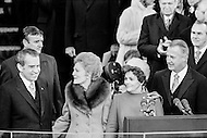 20 Jan 1973, Washington, DC, USA --- Richard M. Nixon being inaugurated as President following one of the biggest landslide election victories in U.S. political history, defeating the democrat George McGovern and garnering over 60% of the popular vote. He carried 49 of the 50 states, losing only in Massachusetts. President Nixon, Vice President Agnew and their wives on the east portico of the U.S. Capitol during the January 20 1973 inaugural ceremonies in Washington D.C. (L-R) Nixon and his wife, Thelma Catherine Patricia Ryan Nixon, Judy Agnew, and Vice-President Spiro Agnew. --- Image by © JP Laffont