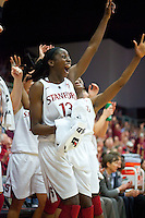STANFORD, CA - December 28, 2010: Chiney Ogwumike of the Stanford Cardinal women's basketball team celebrates during Stanford's game against the Xavier Musketeers at Maples Pavilion. Stanford won 89-52.