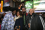 Organizers DJ Jon Quick, Nunu, DJ Jason Grae, Ulysses Grant aka DJ Flashback  at the Soul Train Line Flash Mob in Memory of Don Cornelius, Times Square NY 2/4/12