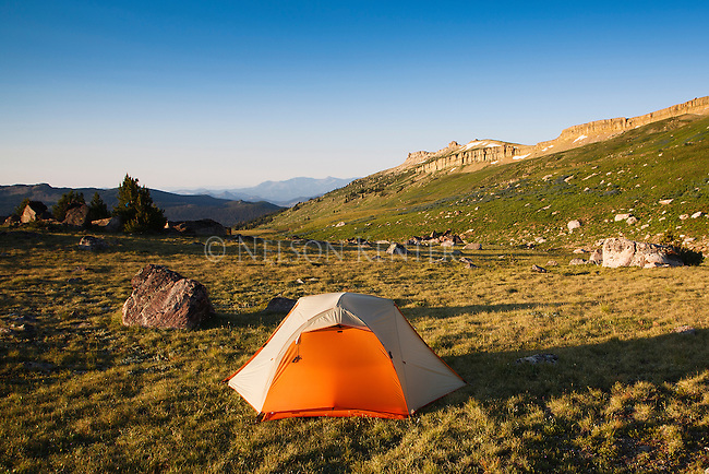 Tent on the high open country of the beartooth wilderness