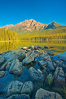 Pyramid Mountain and Pyramid Lake at sunrise, Jasper National Park, Alberta, Canada